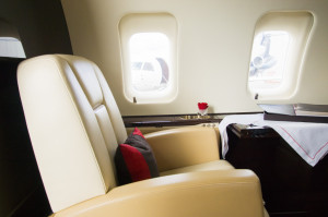 Lavish furnishings in a privately chartered airplane