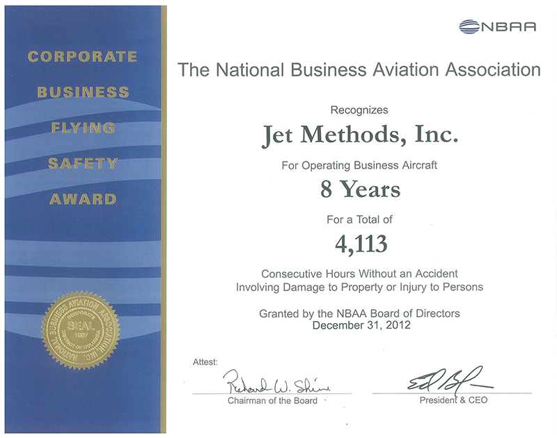 Jet Methods Corporate Award Certificate
