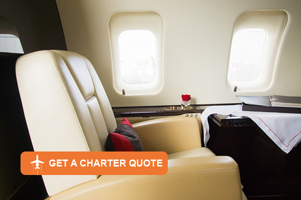 Lavish furnishings in a private air charter plane